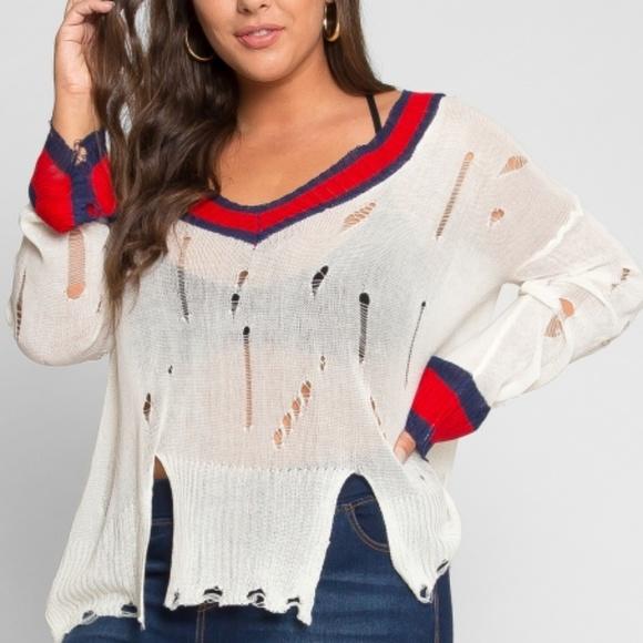 Wet Seal Sweaters Nwt Plus Size Distressed Sweater 3x Poshmark